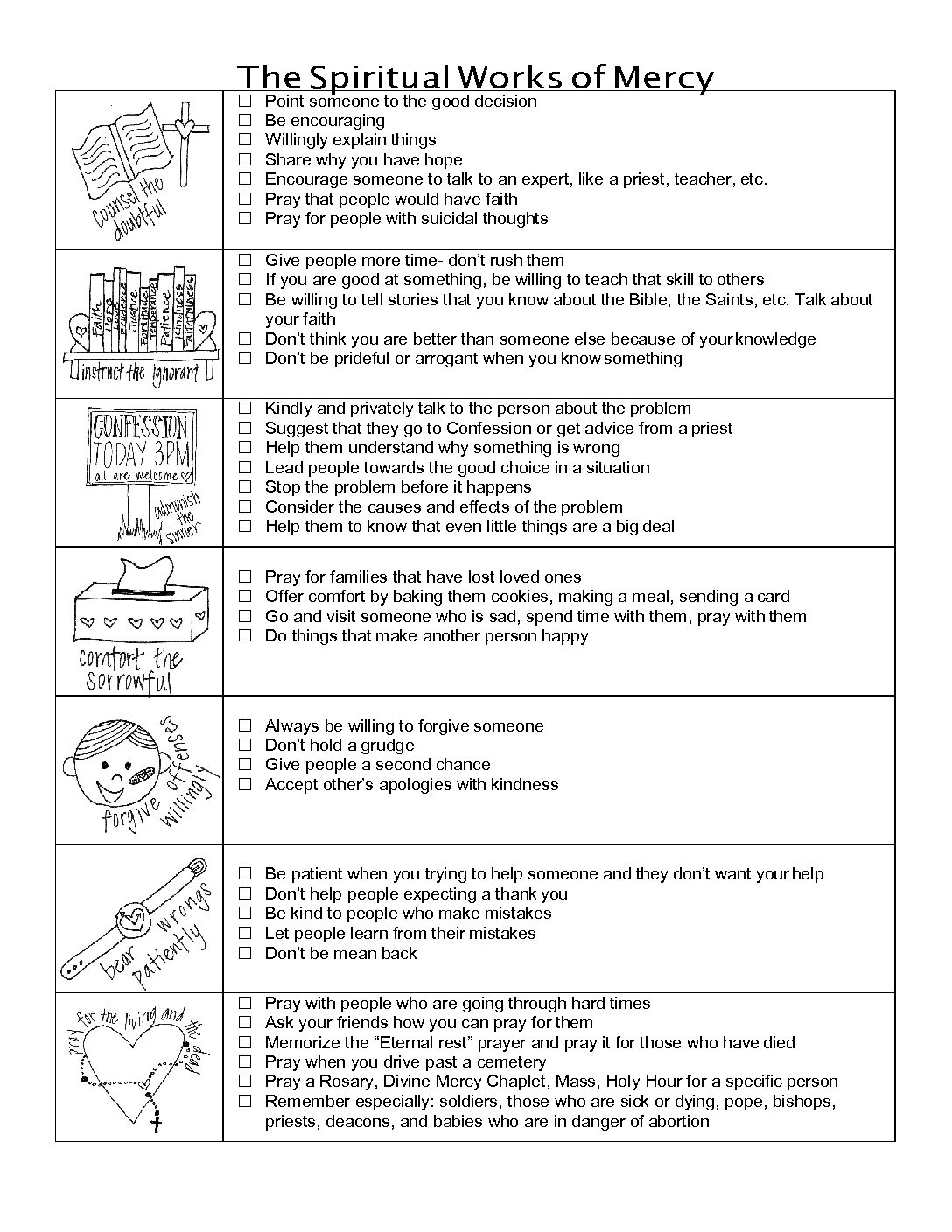 worksheet Corporal And Spiritual Works Of Mercy Worksheet index of wp contentuploads201207 the spiritual works mercy practical ideas pdf jpg